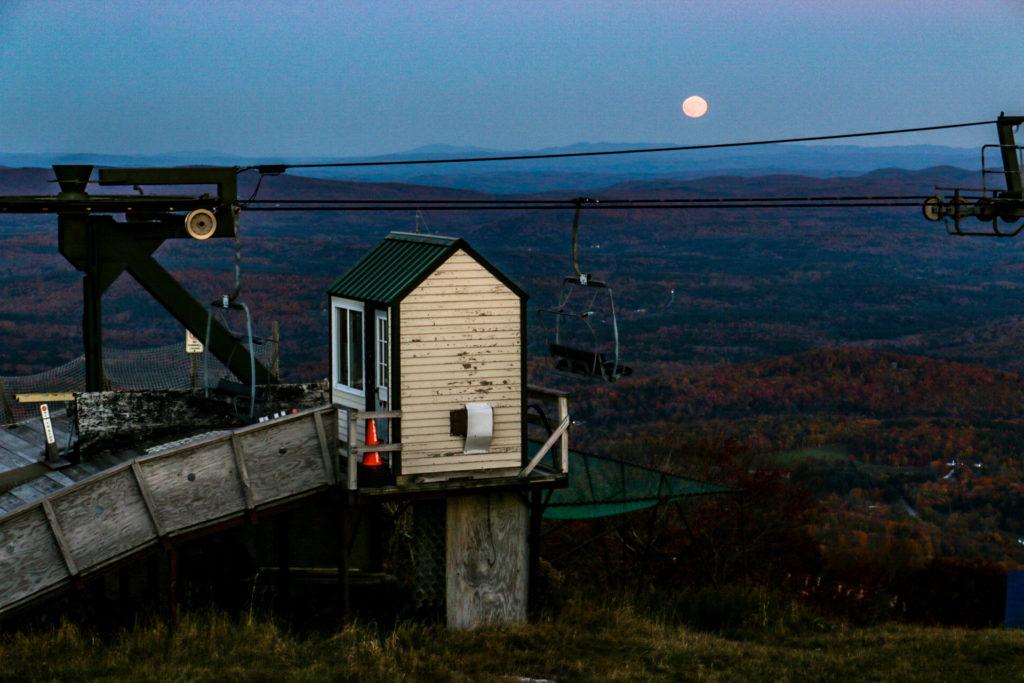Moonrise over Bromley mountain.